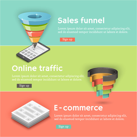 funnel: Colorful vector flat banners set. Sales funnel, a communicator, a laptop