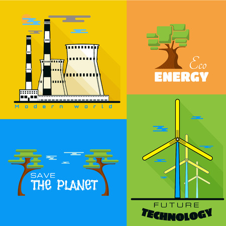 Ecology windmills, factories pollution You can use blogs to magazines, presentations Vector