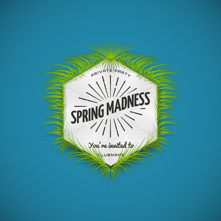 Festival spring madness realistic badge, can be used for flyers and presentations Illustration