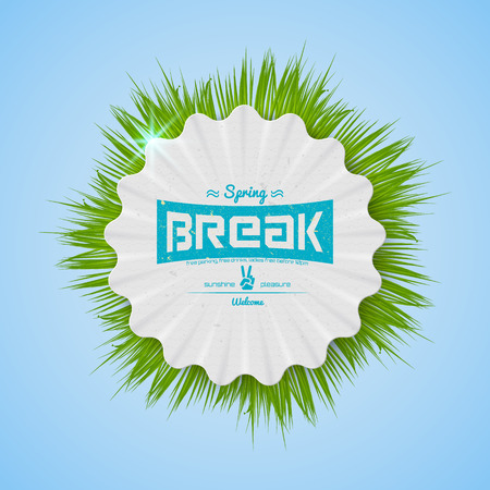 bash: Festival spring break realistic badge, can be used for flyers and presentations Illustration