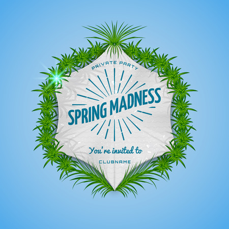 madness: Festival spring madness realistic badge, can be used for flyers and presentations Illustration
