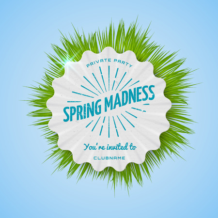 bash: Festival spring madness realistic badge, can be used for flyers and presentations Illustration