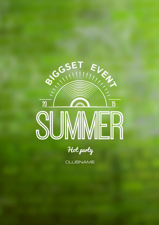 summer festival: Bigset event Summer logo label on blurred green background. EPS10