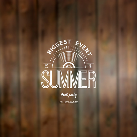 biggest: Summer biggest event label on wooden background blurry textures.