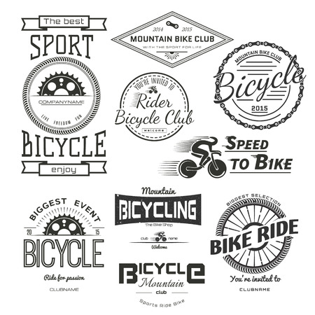 Bicycle badges logos and labels for any use, isolated on white background.