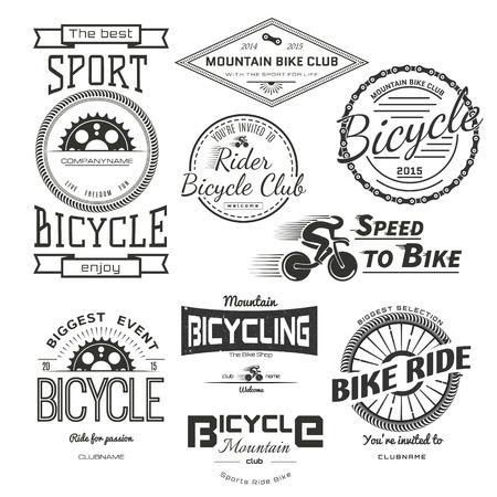 ciclismo: Insignias de bicicletas logotipos y etiquetas para cualquier uso, aisladas sobre fondo blanco. Vectores