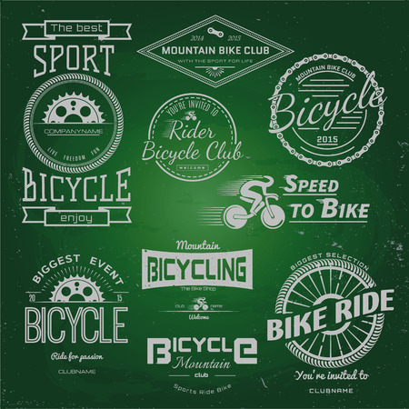 Bicycle badges logos and labels for any use, chalk on a blackboard