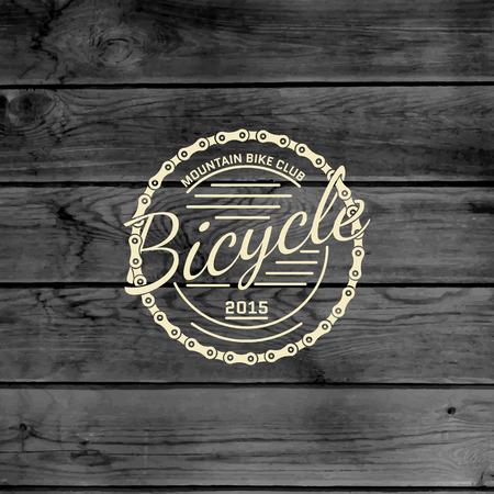 cadenas: Insignias de bicicletas logotipos y etiquetas para cualquier uso, en textura de madera de fondo Vectores