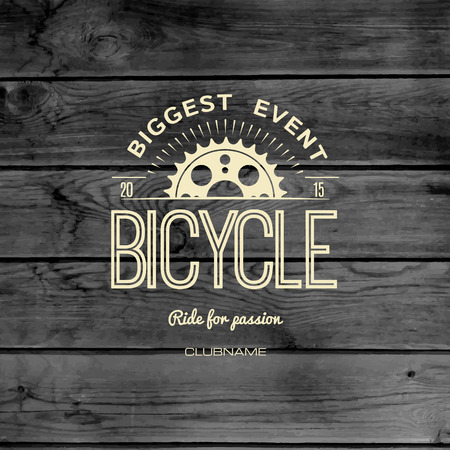 mountain bicycle: Bicycle badges logos and labels for any use, on wooden background texture