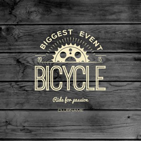 retro bicycle: Insignias de bicicletas logotipos y etiquetas para cualquier uso, en textura de madera de fondo Vectores