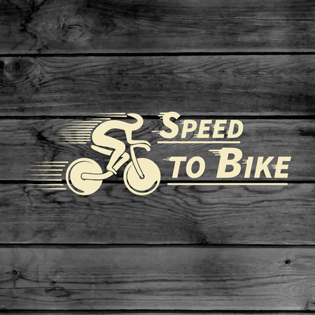 Bicycle badges logos and labels for any use, on wooden background texture Vector
