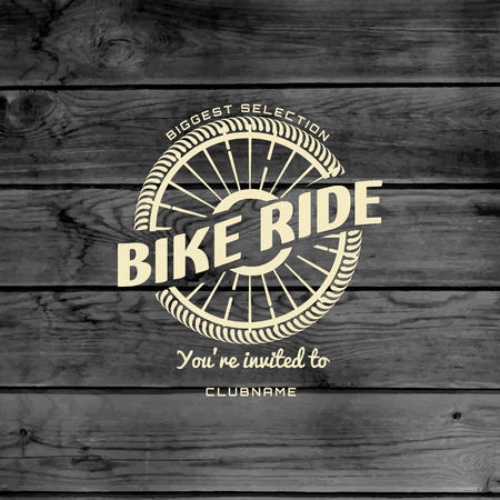 Bicycle badges logos and labels for any use, on wooden background texture Stok Fotoğraf - 39076244