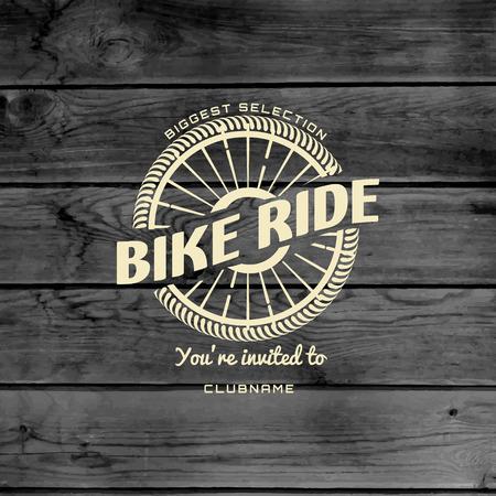 Fahrrad-Abzeichen-Logos und Etiketten für die weitere Verwendung, auf hölzernen Hintergrund Textur Standard-Bild - 39076244