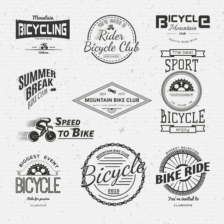 fix: Bicycle badges logos and labels for any use, isolated on white background.
