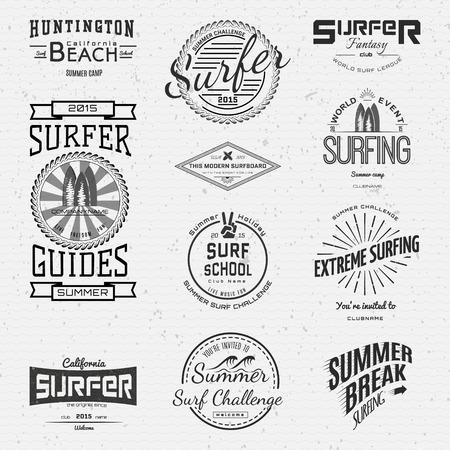 Surf Abzeichen-Logos und Etiketten für die weitere Verwendung, isoliert auf weißem Hintergrund. EPS10