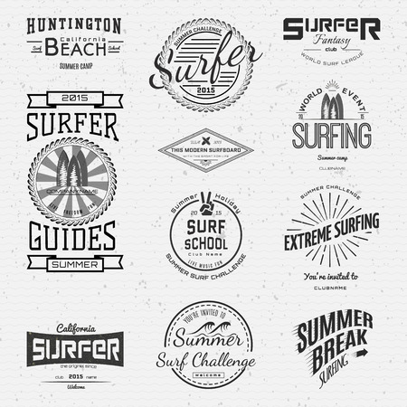 surf silhouettes: Surf badges logos and labels for any use,  isolated on white background. EPS10
