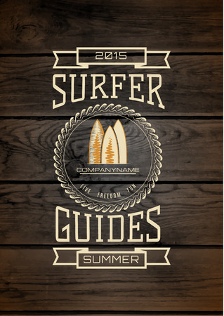 surf silhouettes: Surf badges logos and labels for any use, wooden background texture
