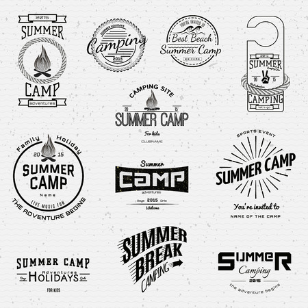 Summer camp badges logos and labels for any use,  on a white background.