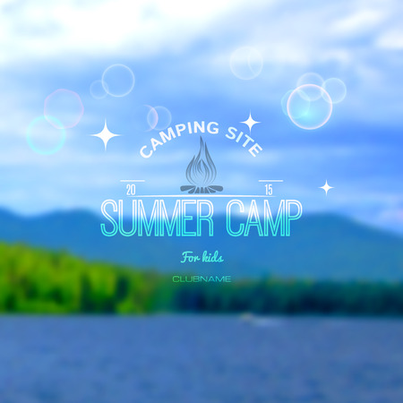 camp: Summer camp badges logos and labels for any use. Blurred background forest sky. EPS10
