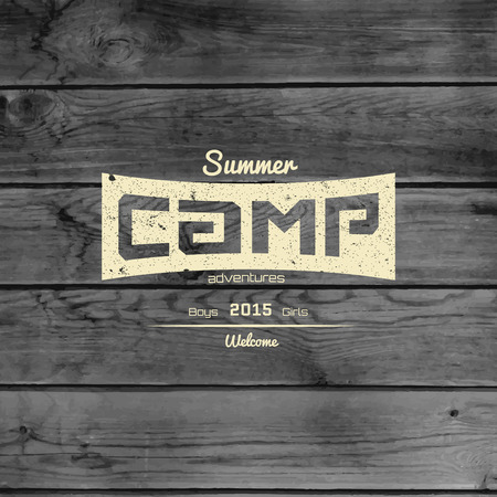 Summer camp badges logos and labels for any use. On wooden background texture.