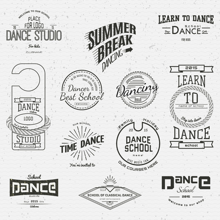 Scuola di Danza badge loghi ed etichette per qualsiasi uso, su uno sfondo bianco. EPS10 Archivio Fotografico - 39240216