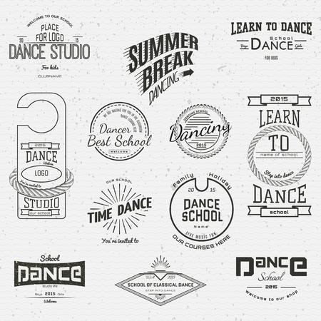 taniec: Szkoła Tańca odznaki loga i etykiety dla każdego zastosowania, na białym tle. EPS10