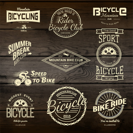 vintage badge: Bicycle set badges logos and labels for any use, isolated on white background.