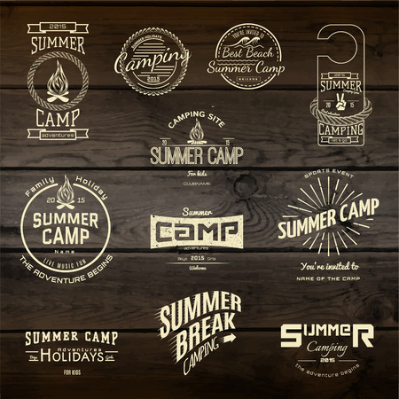 outdoor fire: Summer camp badges logos and labels for any use,  on wooden background texture.