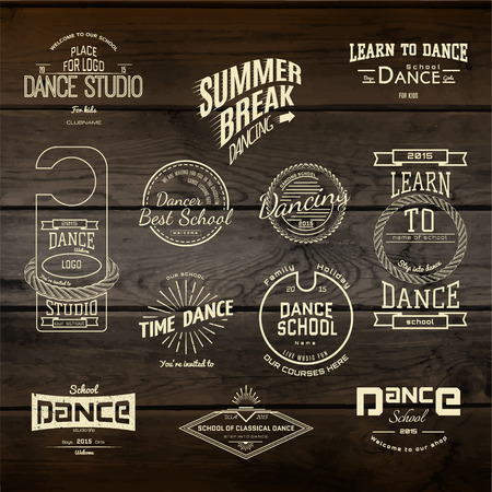 contemporary dance: School of Dance badges logos and labels for any use, on wooden background texture Illustration