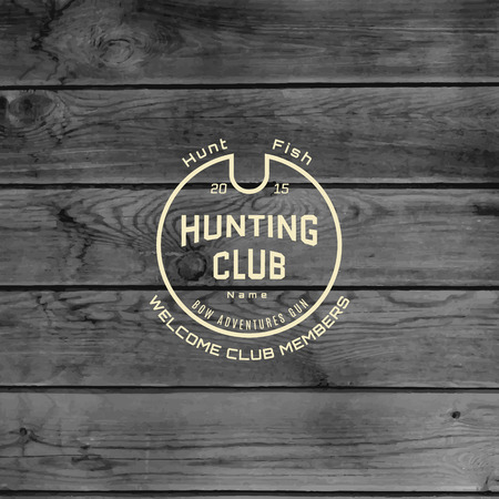 seal gun: Hunting club badges icon and labels for any use, on wooden background texture