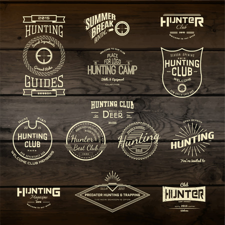 shooting gun: Hunting badges icon and labels for any use, on wooden background texture