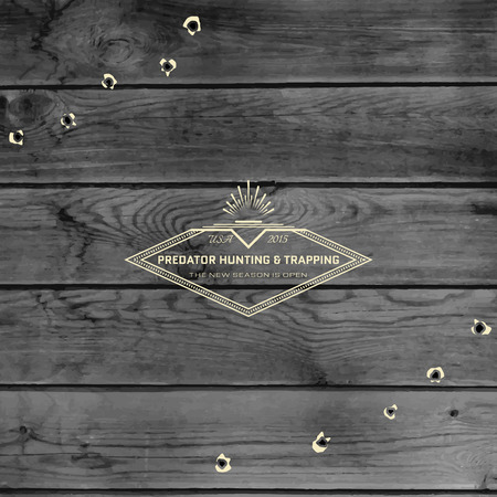 hunting rifle: Hunting badges logos and labels for any use, on wooden background texture Illustration