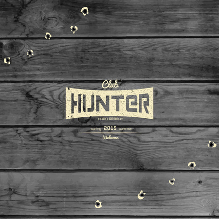 deer hunting: Hunting badges logos and labels for any use, on wooden background texture Illustration