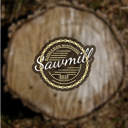 timber cutting: Sawmill badges and labels for any use, on blurred background stump
