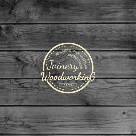 timber cutting: badge and label for any use, on wooden background texture Illustration