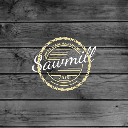 Sawmill badges logos and labels for any use, on wooden background texture Vectores