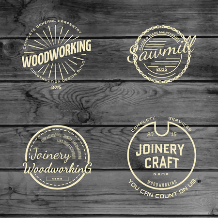 timber cutting: badges and labels for any use, on wooden background texture Illustration