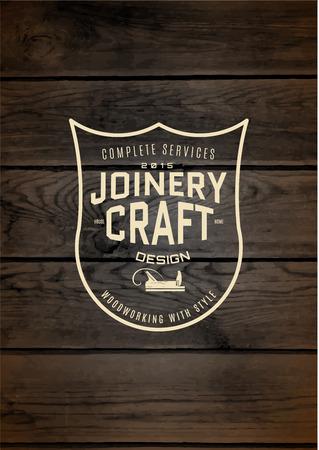 menuisier: Travail du bois badge et l'étiquette pour toute utilisation, de la texture de fond en bois Illustration