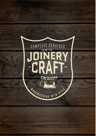 joinery: Woodworking badge and label for any use, on wooden background texture