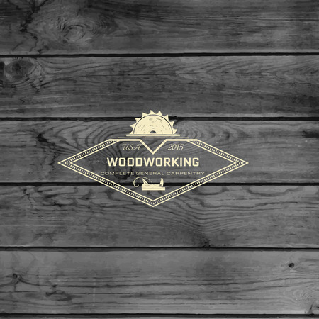 woodworking: Woodworking badge and label for any use, on wooden background texture
