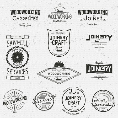 timber cutting: Woodworking badges and labels for any use, on a white background Illustration