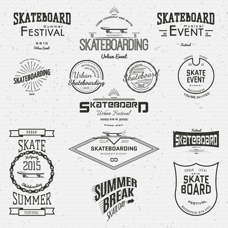 Skateboard badges logos and labels for any use, on a white background  イラスト・ベクター素材