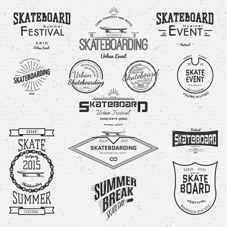 patín: Insignias logotipos y etiquetas monopatín para cualquier uso, en un fondo blanco