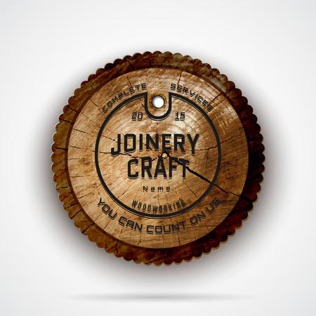 badges logo's en labels voor elk gebruik, op houten achtergrond textuur