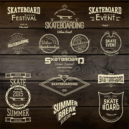 sticker label: Skateboard badges icon and labels for any use, on wooden background texture