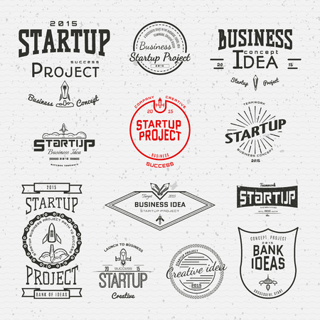 financial symbols: Startup project badges icon and labels for any use, on a white background Illustration