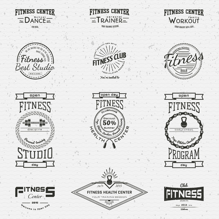 badge logo: Fitness club badges logos and labels for any use, on a white background. Illustration