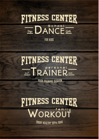 shaping: Fitness club badges  and labels for any use, on wooden background texture