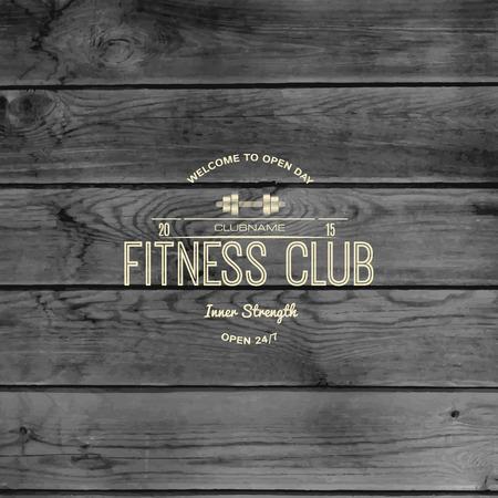 Fitnessclub Abzeichen und Etiketten für die weitere Verwendung, auf hölzernen Hintergrund Textur Vektorgrafik