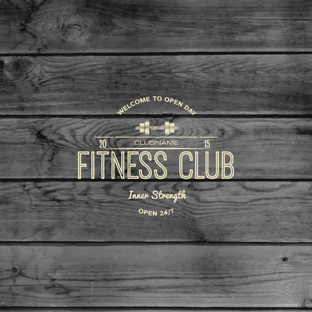 Fitness club badges and labels for any use, on wooden background texture